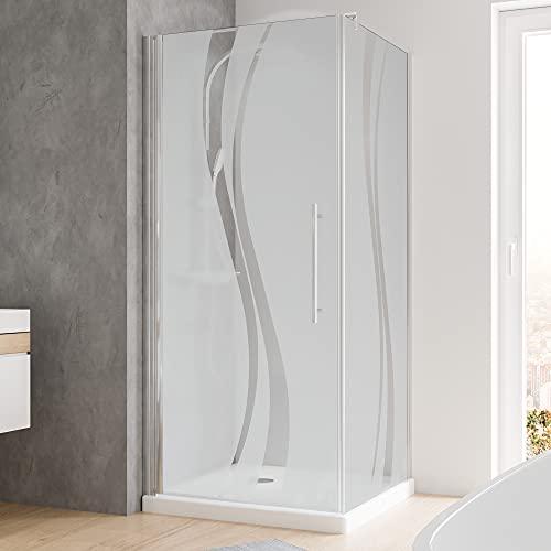 Schulte Duschkabine Glas-Dusche 90x90 5mm Stärke Drehtür und Seitenwand chrom-optik Sicherheitsglas Liane