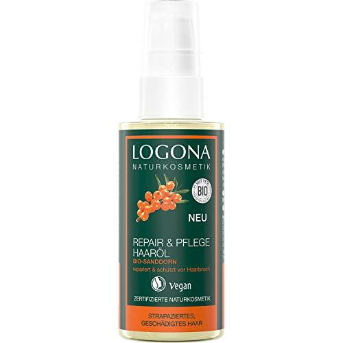 LOGONA Naturkosmetik Repair & Pflege Haaröl Bio-Sanddorn, Intesive Pflege für trockenes, Geschädigtes Haar, Reapriert, 75 ml