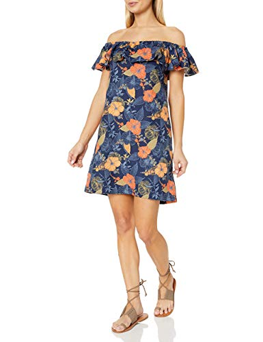 Amazon Brand - 28 Palms Women's Linen Blend Tropical Hawaiian Print Off-Shoulder Dress, Watercolor Orange Hibiscus, Medium