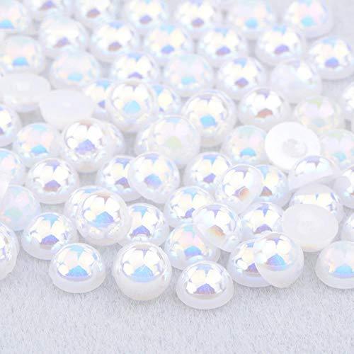 2 4 6 8 10 12 14mm Demi-Ronde Imitation Perle Noir AB Strass Perle Colle Sur Nail Art Décoration Dos Plat Perle Autocollant, Blanc AB, 12mm 50 Pcs