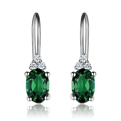Pendientes Mujer Pendientes De Plata De Ley 925 Pendientes De Clip Delicados De Esmeralda Ovalada para Mujer Regalos Joyería Fina Clásica Verde