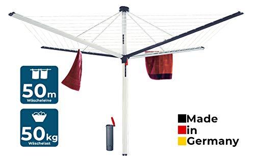 BLOME Wäschespinne Superior DuoMatic 50 - Designer Wäscheständer für den Garten inkl. Bodenhülse, Wäscheschirm mit Leinenautomatik, 50m Wäscheleine, Made in Germany