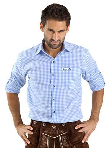 ALMBOCK Trachtenhemd Herren kariert - Slim-fit Männer Hemd hellblau kariert - Karo Hemd aus 100% Baumwolle in den Größen S-XXXL