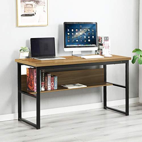 DlandHome Escritorio de Computadora con Estantes 120 * 55 cm Escritorio de Oficina Mesa de Madera Escritura de Postes de Trabajo para Hogar y Oficina, Teca & Negro