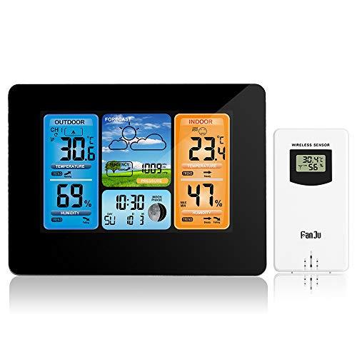 TTAototech Estaciones meteorológicas inalámbricas para interiores y exteriores, color digital, estación de previsión meteorológica...