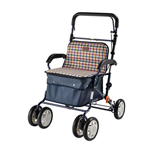 Winkeltassen Walker Opvouwbare Winkelwagen Wandelen Hulpwagen Winkelwagen Kan Zitten Kan Gewicht 100 kg Crutches Beste Cadeauwagen Voor De Ouderen