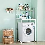yeqing scaffale a 2 strati sopra la lavatrice - ripiano bagno in metallo - lavandino - lavatrice a tamburo - ripiano cubby - bianco - nero (color : white)