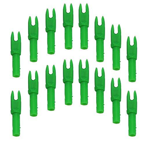 Mangobuy 50 Piezas Tiro con Arco Nock S Tamaño Flecha Eje G Nocks Ranura pequeña.088 (Transparente Verde)