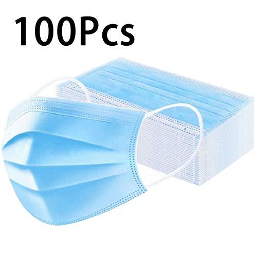 100 Stks Wegwerp Medische Gezichtsmaskers, Chirurgische Maskers met 2 Elastische Oorlussen, 3-Ply Stofdicht, Ademend en Comfortabel Antivirale Sanitaire Maskers