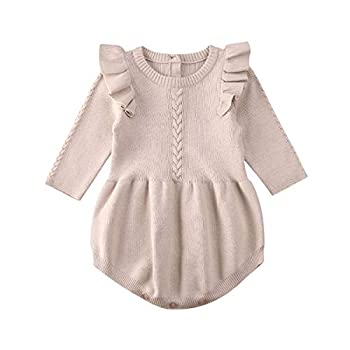 Merqwadd Infant Toddler Baby Girl Warm Romper Solid Longsleeve Knit Sweater Winter Rompers  Knitted Romper-Apricot 12-18 Months