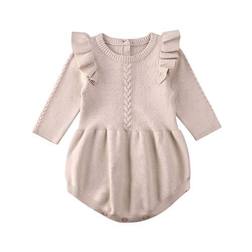 Whitzard Body para bebé niña con volantes, de un solo color, para otoño e invierno caqui 100 cm