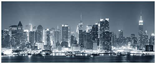 Wallario Acrylglasbild New York Skyline - Schwarz Weiß Blau - 50 x 125 cm in Premium-Qualität: Brillante Farben, freischwebende Optik
