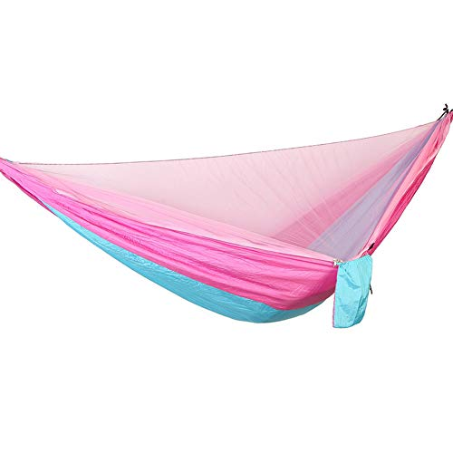 DaiHan Camping Hamaca con Cremallera mosquiteros Multi-Funcional al Aire Libre Pop-out Hamaca de Camping para una Persona Rosa Azul-Rosa M