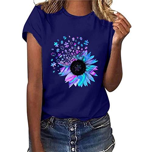 Camiseta de manga corta para mujer, diseño de girasol, estilo informal, básico, cuello redondo, para adolescentes, niñas, camisas, blusa, túnica, fitness, sudadera (azul, L)