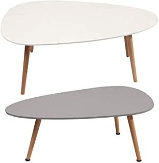 Tables Side End Coffee Dining Lamp Set Solid Pine Legs Combination (Color : White),Colour:White (Color : Combination)