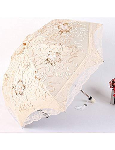 KDLVJ Ombrello Ombrello Da Sole In Pizzo Donne Pioggia 5 Colori Prugna Fiore In Fiore Parasole In Pizzo Due Ombrello Pieghevole Sole/Parasole Pioggia, Come Foto4