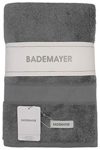 Bademayer Fusselfreie Frottier Badetuch Duschtuch aus 100% Ägyptischer Baumwolle Giza 67 x 127 cm Premium-Qualität - 600 g/m² (Grau)