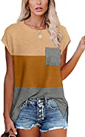 XIEERDUO T Shirts for Women Loose Fit Cap Sleeve T Shirts with Pocket for Women