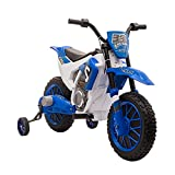 Aosom Kids Dirt Bike Battery-Powered Ride-On Electric Motorcycle with Charging 12V Battery, Training Wheels Blue
