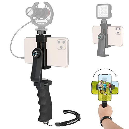 Poignée/Stabilisateur Smartphone Universel, Stabilisateur Téléphone Manul pour Vlog, Vidéo, Youtube, Monopod Selfie Pratique Compatible avec iPhone, Sumsang,...