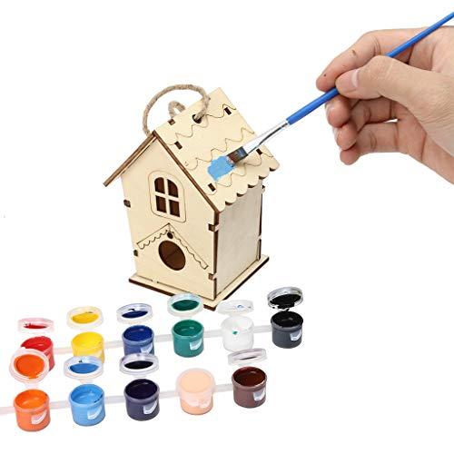 Dinglong Home Maison à Oiseaux Kit avec des Outils de Peinture pour Enfant, Mangeoire Oiseaux Woodcraft 3D Puzzle Toy DIY Kit, Nid pour Oiseaux pour Décoration Jardin, 22 * 13,5 * 14 cm (Style E)
