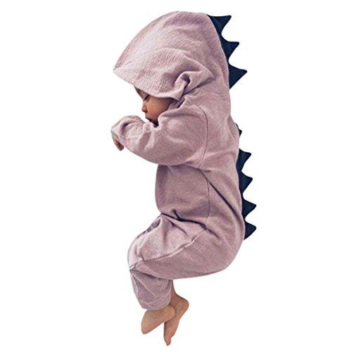 UOMOGO Neonato Bambino Neonato Dinosauro Ragazza Hooded Pigiama Tuta Abiti 3-24 Mesi (età: 18~24 Mesi, Rosa)