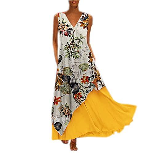 Vestido De Mujer, Retro Todos Los DíAs, Dobladillo Irregular Floral Sin Mangas, Vestido De Bolsillo De Dos Piezas con Cremallera En La Espalda