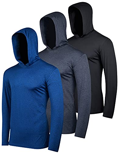 3 Pack: Men's Quick Dry Fit Moisture Wicking Long Sleeve Active Athletic Hoodie Performance Hooded T Shirt Workout Running Fitness Gym Sports Casual Sweatshirt UPF 50 Outdoor Hiking-Set 7, L