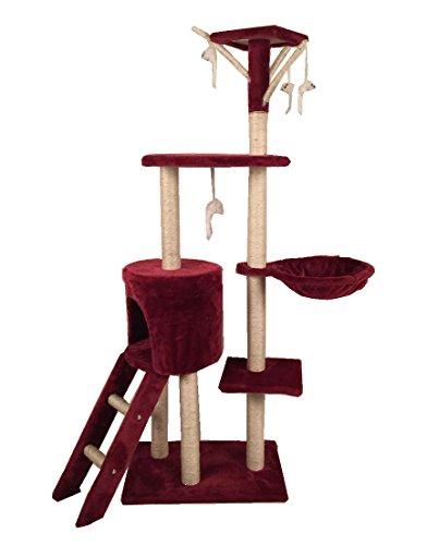 SavingPlus Cat Tree Scratching Post Activity Centre Pet Toy Scratcher (Red)