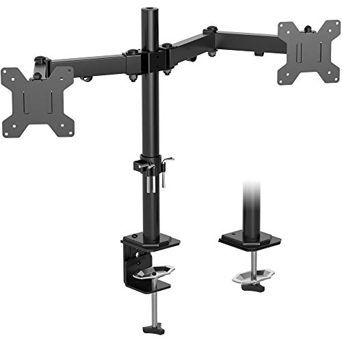 BONTEC Dual Monitor Mount for 13-27 inch LCD LED Screen, Tilt Swivel Rotation Double Arm PC Computer Monitor Desk Mount Bracket up to 8kg, VESA Dimensions: 75x75-100x100mm