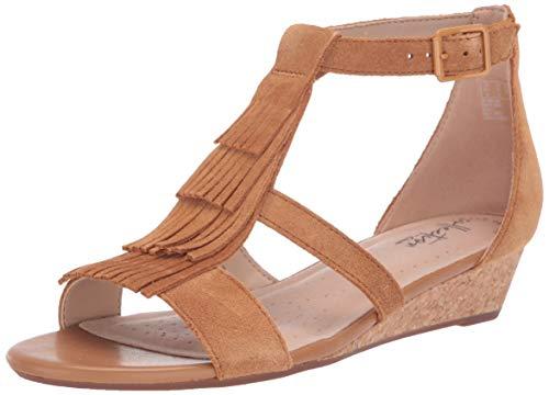 Clarks Women's Abigail Sun Wedge Sandal, tan Suede, 8