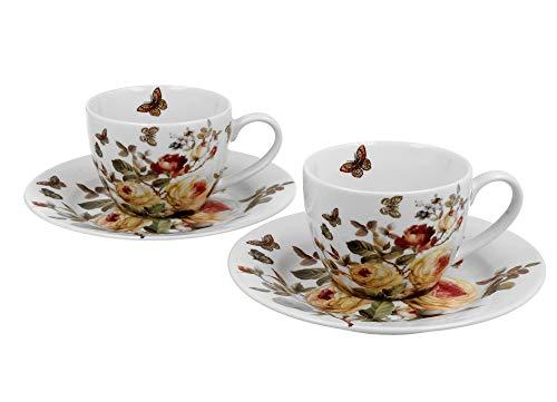 Duo Zahra - Juego de 2 tazas de espresso (110 ml, porcelana)
