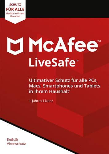McAfee Livesafe 2021 - Eine unbegrenzte Anzahl an Geräten - 1 Jahr - PC/Mac/Smartphone/Tablet | Aktivierungscode per Post
