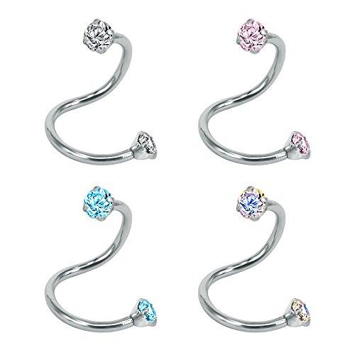 ZeSen Jewelry 4 PC-Kristallohr-Spirale Barbell Tragus OhrRingee Edelstahl Cartilage Labret Ringe-Piercing 4pcs Runde, 5/16