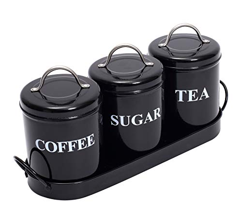 3-Piece Vintage, Retro, Farmhouse Metal Containers with Lids, Coffee, Tea,...