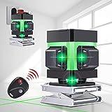 Kreuzlinienlaser 25M, Careslong 3 x 360 grüner Laserpegel selbstausgleichende Aluminiumschale, grüner Strahl 3D 12 Linien, IP 54 Selbstnivellierende Vertikale und Horizontale Linie (2pcs Batterie)