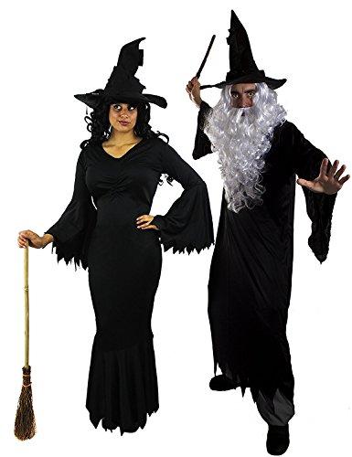 ILOVEFANCYDRESS - Disfraz de pareja de bruja y mago para adultos (tallas XS - XXL)