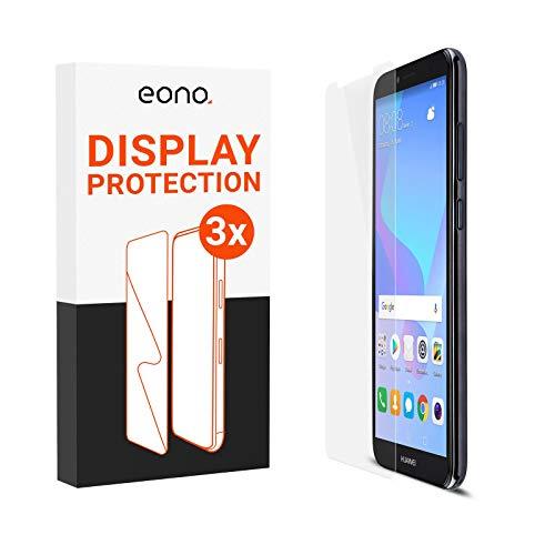 Eono 2.5D Vidrio blindado [3 Unidades] Compatible con Huawei Y6 (2018) – Cristal Protector 9H contra roturas y arañazos – Apto para Fundas