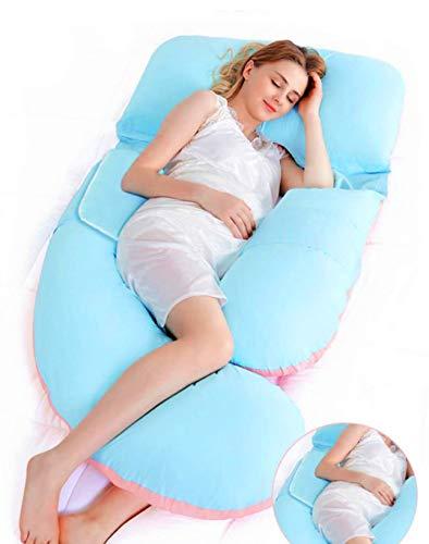 AiLa Almohada de Embarazo en Forma de G-Almohada de Maternidad Ajustable de Cuerpo Completo-Posición del Vientre Inclinada 140cm(AzulRosa)