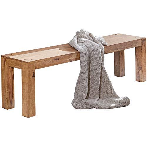 FineBuy Esszimmer Sitzbank Massiv-Holz Akazie 160 x 45 x 35 cm Design Holz-Bank Natur-Produkt Küchenbank Landhaus-Stil dunkel-braun Bank 3-Sitzer für innen ohne Rücken-Lehne Echt-Holz unbehandelt
