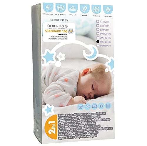 BISOO 80x160cm Sabana Cama Infantil Protectora Impermeable y Transpirable - 2en1 - Protector de Colchón Bebé + Sabana Bajera - 100% Jersey 160GSM OEKO-TEX (80x160 Blanco)