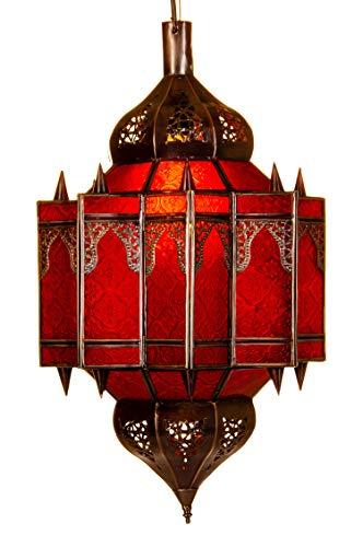 Orientalische Lampe Pendelleuchte Rot Alia 50cm E27 Lampenfassung | Marokkanische Design Hängeleuchte Leuchte aus Marokko | Orient Lampen für Wohnzimmer Küche oder Hängend über den Esstisch
