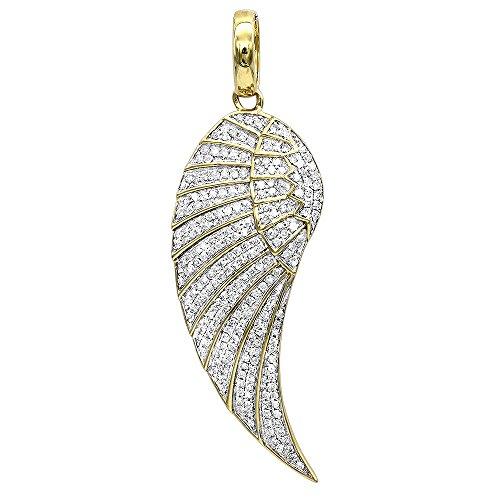 LUXURMAN Mini 10K Rose, White or Yellow Gold Diamond Angel Wing Necklace Pendant 0.6ctw (Yellow Gold)
