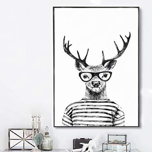 Zeitgenössische Mr Deer Kunst Bilder Tiere Nordic Poster Abstrakte Geometrische Malerei Drucke auf Leinwand Für Zuhause Wohnzimmer Geschenk Kunstwerk Gemälde Wanddekoration,50x70cm