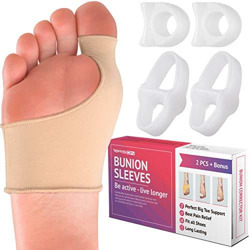 Bunion Corrector Kit - Elastic Beauty Gel Pad Bunion Sleeve for Men Women - Bootie Cushions Splint Orthopedic Foot Protectors - Pain Relief from Tailors Bunion Hallux Valgus Hammertoes - Set of 3