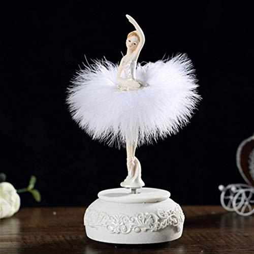 WECDS-E Caja de música Bailarina Caja de música Dancing Girl Swan Lake Carrusel con Plumas para Regalo de cumpleaños Caja Musical giratoria (Color: Rosa)