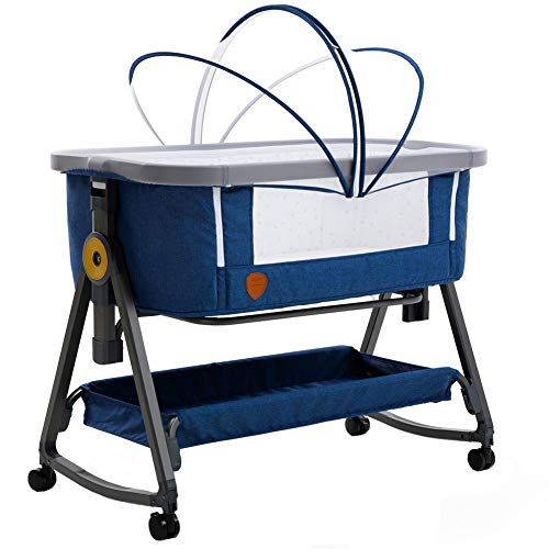 Zatnec Minicuna Colecho Cuna Infantil De Viaje Portátil Altura Ajustable con Acolchado para Bebé,mosquitera,Desmontable (Color : Blue)