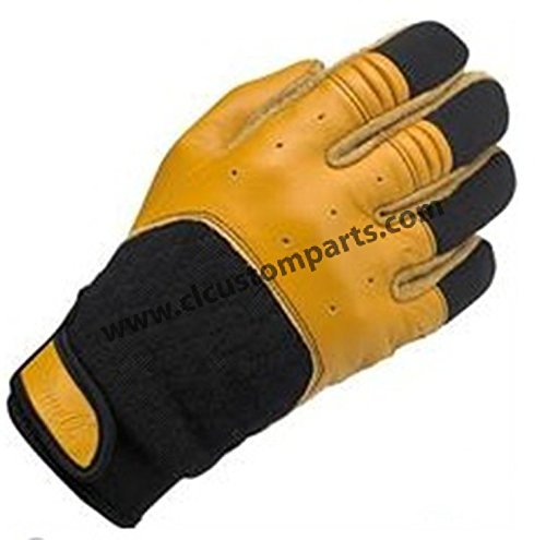 Handschuhe Leder Bantam Schwarze/Gelbe Biltwell Herren Biker Biker Custom L Nero/Giallo