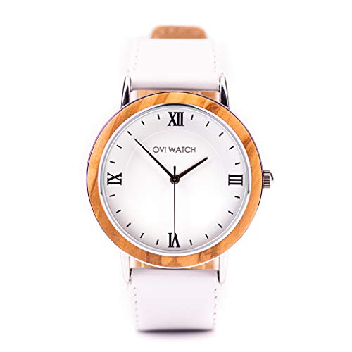 Ovi Watch, Reloj Blanco de Madera - Correa Blanco Cuero Genuino