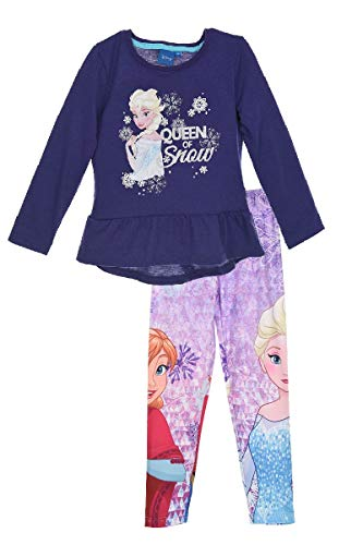 Frozen - Die Eiskönigin Disney ELSA Tunika Langarmshirt + Leggings Set, Größe:116 (6 A)